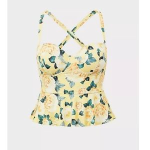 Yellow  Floral  Underwire Peplum midkini top L